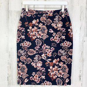 Ann Taylor NWT Navy Textured Floral Pencil Skirt